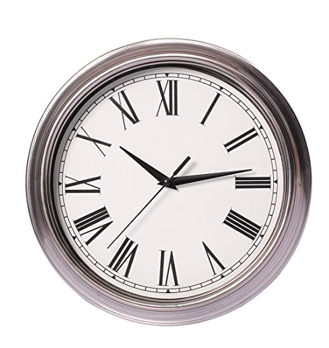 Maywhen Silent Non Ticking Quartz Modern Round Wall Clock Roman Numeral Silver 11 Inches