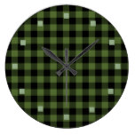 Cool Green Black Lumberjack Tartan Squares Pattern Large Clock