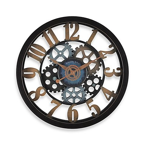 FirsTime Vintage Gears Wall Clock in Black/Gold