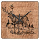 Rustic Burlap and Deer Illustration Square Wall Clock