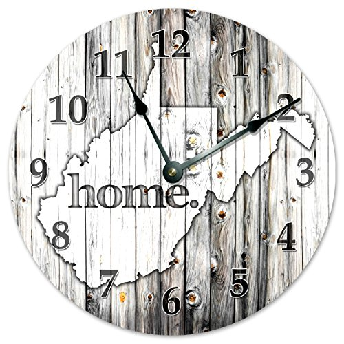 WEST VIRGINIA STATE HOME CLOCK Black and White Rustic Clock – Large 10.5″ Wall Clock