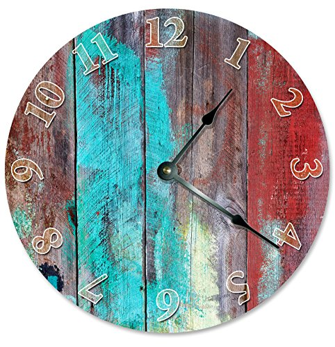 Large 10.5″ Wall Clock Decorative Round Wall Clock Home Decor Novelty Clock BLUE RED TAN WOOD PAINT
