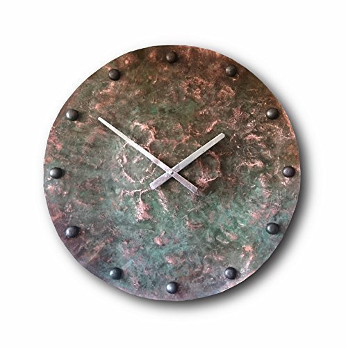 Oversized Copper Wall Clock 24-inch – Round Decorative Rustic Metal Original – Silent Non Ticking Quartz for Home