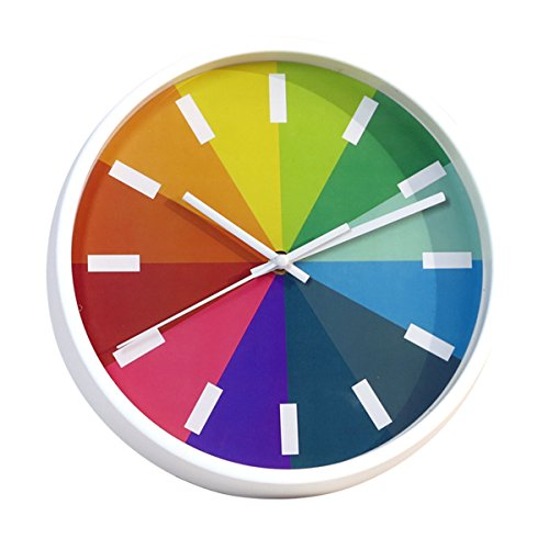 Foxtop 10 inch Modern Colorful Silent Wall Clock for Living Room Bedroom Classroom Home Wall Decoration, Stylish for Easy Reading Non-ticking Wall Clock,Kids Rainbow Color Clock (White-1)