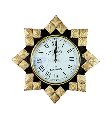 Hand Crafted Decorative Wall Decor Clock Mirror & Windows | Colorful Vintage Designs | Nagina International (14″ Clock, Faded White)