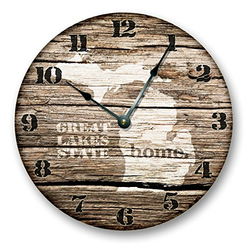 MICHIGAN STATE HOMELAND CLOCK -GREAT LAKES HOME STATE – Large 10.5″ Wall Clock – Printed Wood Image- MI_FT