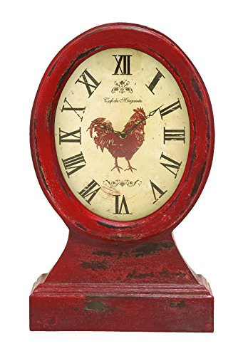 Deco 79 69256 Farmer Themed Table Top Clock in Vintage Wood