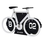 Creative Clock,KABB Modern Stylish Bicycle Shaped Retro Flip Down Alarm Clock with Dual Internal Gears Operated for Office Bedroom Home Decoration (White)
