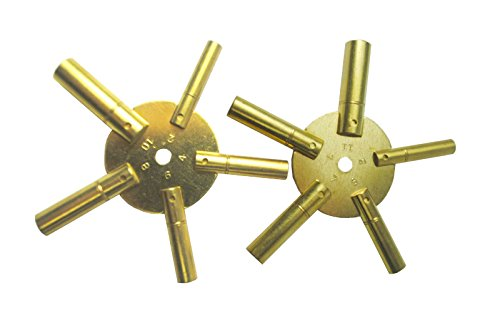 2 pieces 5-in-1 Odd/Even Number Brass Clock Winding Key from Brass Blessing