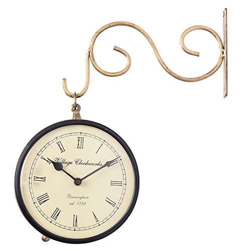 Mothers Day Gift Vintage Victorian Decorative Golden Station Wall Clock with Double Sided Clock Face and Iron Wall Bracket – 1 AA Battery (Not Included)