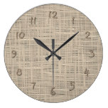 Chic Pastel Taupe Color Faux Jute Fabric Pattern Large Clock