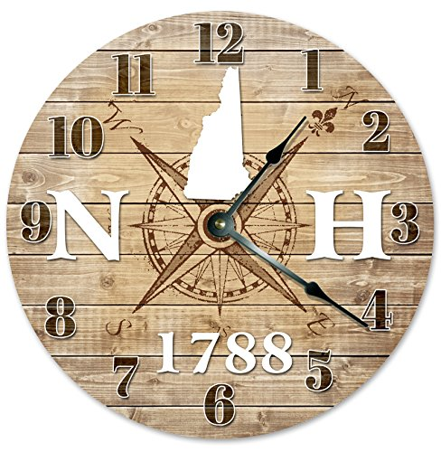 NEW HAMPSHIRE CLOCK Established in 1788 Decorative Round Wall Clock Home Decor Large 10.5″ COMPASS MAP RUSTIC STATE CLOCK Printed Wood Image