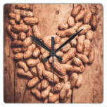 Heart health and nuts square wall clock