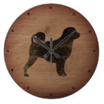 Portuguese Water Dog Silhouette Rustic Large Clock