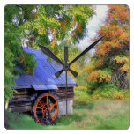 Rustic Shed Landscape Square Wall Clock