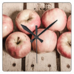 Weathered fruits square wall clock