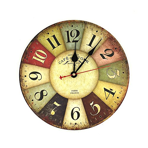 Indeedbuy 12″ Wall Clock French Rustic Retro Kitchen Home Decor,Wooden Clock on Wall