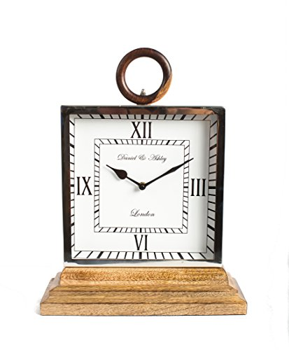 12 Inch Tall Wood and Aluminum Table Clock