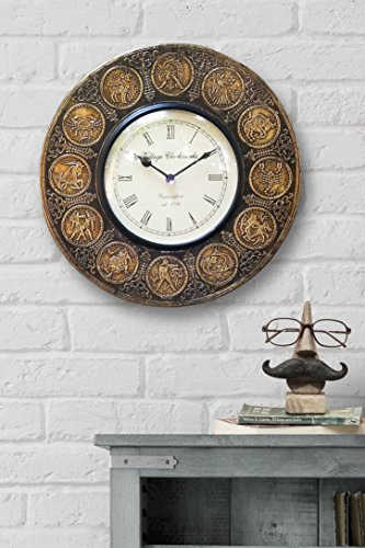 Mothers Day Gift Decorative Wall Clock Zodiac Astrology Round Metal with Roman Numeral Clock Face 12 Inch