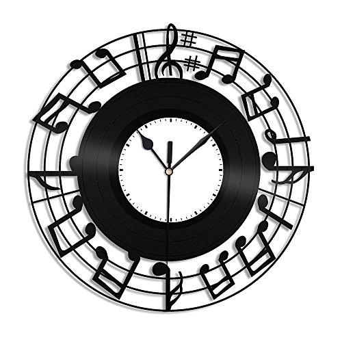Sheet Music Clock, Black Vinyl Record Wall Clock, Unique Music Notes Decoration, Great Gift Idea For Mom, Dad, Brother, Sister, Grandma, Grandpa