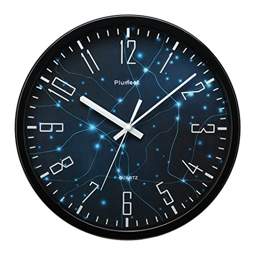 Plumeet 12″ Silent Wall Clock with Special Design and Non-ticking Digital, Cool Wall Clock Modern Style Large Graceful Numbers Good for Living Room & Kitchen & Bedroom Battery Operated (Black)