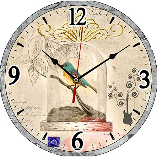 LING'S SHOP Large Vintage Antique Rustic Shabby Chic Wall Clock Home Kitchen Decoration Art (70 Birds)