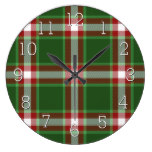 Green Red White Cool Red Lumberjack Plaid Pattern Large Clock