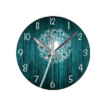 Teal Rustic Barn Wood Dandelion Wall Clock