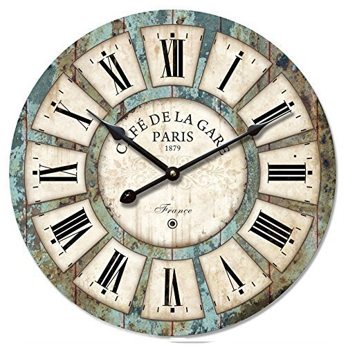 16-in Vintage Roman Numeral Design Wood Clock – Eruner France Paris *Café De La Gare* Colourful French Paris Tuscan Style Non-Ticking Quartz Movement Wooden Wall Clock Cafe Bar(16″, #03)