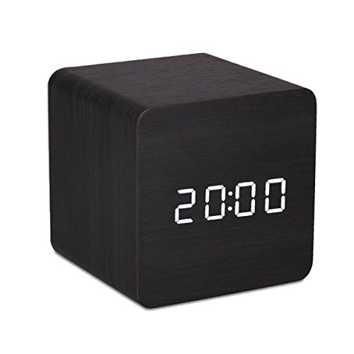Mini White LED Wooden Alarm Clock Displaying Time Date Temperature Voice Touch Activated for Desktop Home Office (Black)