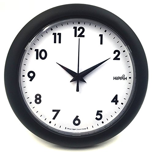 Hippih 10″ Silent Quartz Decorative Wall Clock Non-ticking Black 249-A
