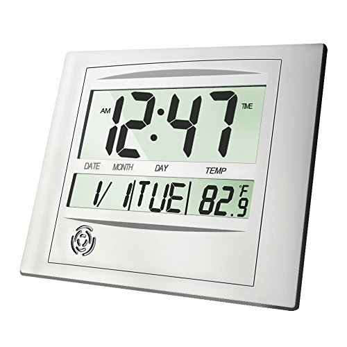 HeQiao Slim Large LCD Alarm Clock Digital Calendar Day Clock Wall Clock Silent Desk Shelf Clocks Battery Operated for Home Office(12 Inch,Alarm & Snooze,Timer & Temperature Function)-Silver