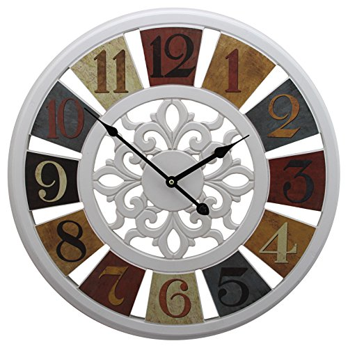 20″ Gallery Large Wall Clocks with Rustic Vintage Color Wheel Prints White Frame