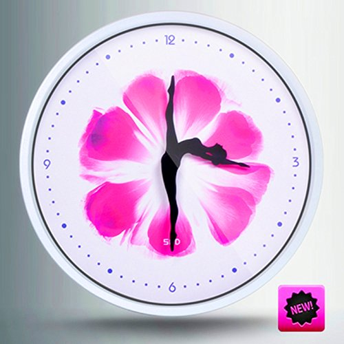 Color Map 12-Inch Dancer Modern Colorful Stylish Elegant Silent Non-ticking Home Kitchen/Living Room Wall Clock (Rose, White)