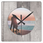 Barnwood Home Decor Square Wall Clock