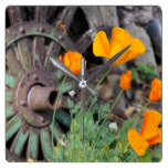 California Poppies Rustic Square Wall Clock