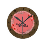 Girls Monogrammed Name | Burlap Brown Pink Floral Round Clock
