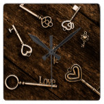 Love and romance themed keys with hearts square wall clock