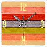 Monogram Series: Rainbow Colored Wood Panel. Square Wall Clock