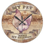 My Pet Makes My Breakfast Watercolor Chicken Large Clock