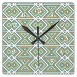 Orange Teal Turquoise Green Tribal Mosaic Pattern Square Wall Clock