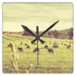 Sheep grazing in rustic Richmond Square Wall Clock