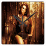Vintage mechanic lady at rustic garage square wall clock
