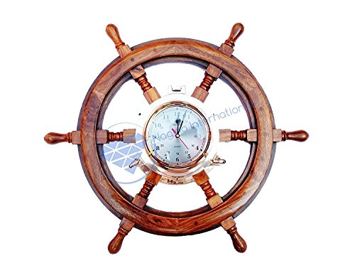 Premium Porthole Clock Ship Wheel With Solid Teak Finish – Captain Maritime Beach Home Decor Gift – Nagina International (16 Inches)