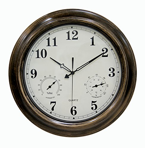 AsureQ 18″ Metal Frame Retro Classic Non-Ticking Quartz Decorative Waterproof Large Wall Clock Temperature & Humidity Stats (18 inch, Retro)