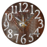 11002, Leather, Western, Brown, Button, Print Large Clock