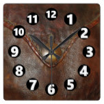 11002, Leather, Western, Brown, Button, Print Square Wall Clock