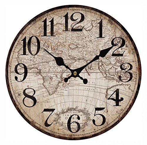 Upuptop 16″ Faded Rustic Old Design Wall Decor Round Wood Clock with Vintage Antique Map Pattern