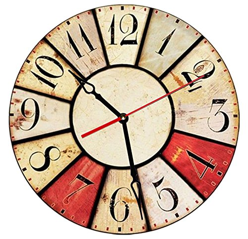 SofiClock 12″ Vintage Wall Clock With Arabic Numerals, Best Wooden Decor