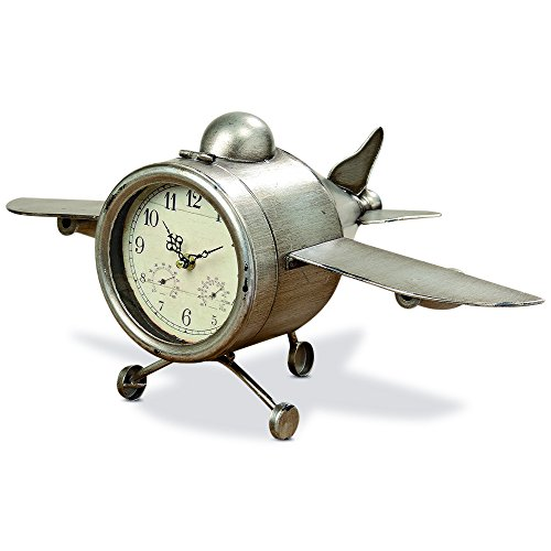 The Airplane Clock, Over-sized, Floor or Desk Top, Glass Face, Lacquered Polished Iron, Analog Time Piece, Battery Powered, By Whole House Worlds
